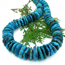 genuine chunky turquoise disc necklace sterling silver
