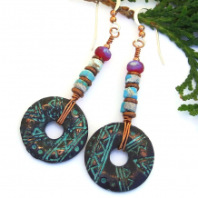 geometric tribal mykonos disc earrings with vintage turquoise heishe