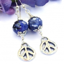 Rustic sterling peace sign and blue sodalite handmade artisan earrings.