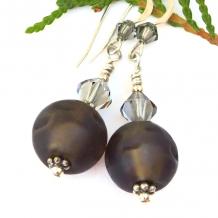 glowing brown dangle earrings swarovski crystals