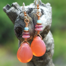 glowing pink opal handmade teardrop jewelry