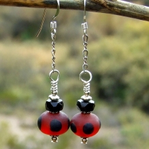 red and black earrings for women