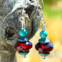 glowing ruby red and turquoise handmade earrings