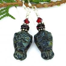 Goth owl earrings.