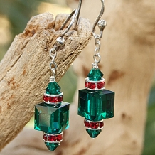Green and red Swarovski crystal Christmas earrings.