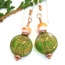 green orange cat kitty handmade earrings copper sterling