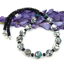 mosaic magnesite necklace gift for women