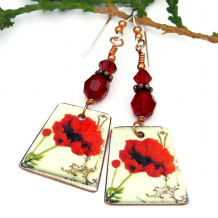 handmade valentines day poppy earrings gift for women