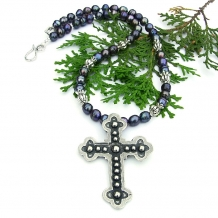 handmade cross necklace with peacock pearls jewelry for women