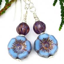 handmade flower earrings pansy pansies blue purple