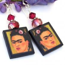 handmade frida kahlo earrings from polymer clay