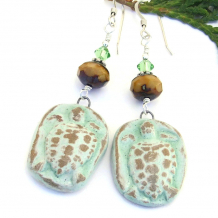 handmade green and tan turtle earrings gift idea