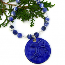 handmade jewelry blue star girl ceramic pendant gemstones