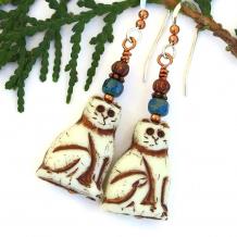 handmade kitty cat dangle earrings
