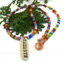 handmade namaste pendant necklace with multi color african christmas beads