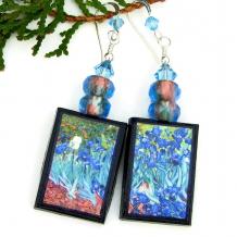 handmade van gogh's irises art earrings