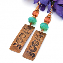 handmade woof dog jewelry copper aqua pink