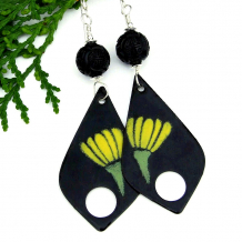 handmade yellow and green flower floral teardrop earrings