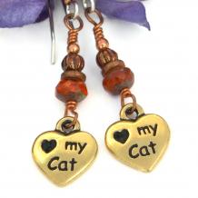 heart my cat paw prints cat lover earrings
