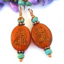 hieroglyph cat earrings