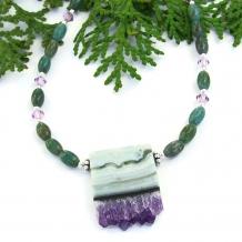 Amethyst stalactite druzy necklace.