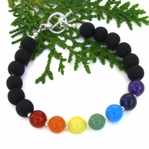 inspirational chakra bacelet gemstones matte black glass