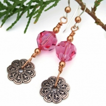 Copper filigree flower earrings with pink Swarovski crystals, Valentines jewelry