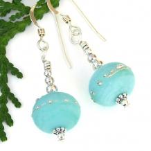 kryptonite green lampwork glass bead earrings gift for women