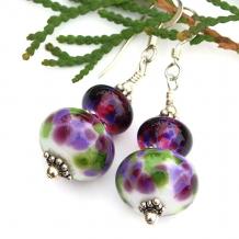lampwork glass earrings in purple green white
