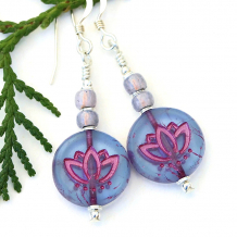 lavender purple and fuchsia pink translucent lotus flower earrings