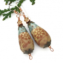 light aqua and terracotta rustic boho flower teardrop earrings