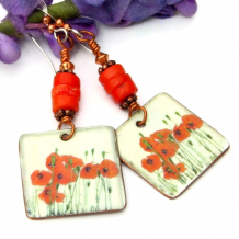 lightweight red poppy flower dangle jewelry with red coral