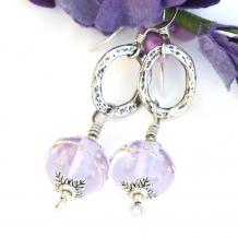 One of a kind handmade lavender lampwork bead earrings with sterling ovals.