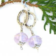 lavender lampwork earrings
