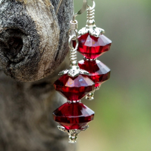 magenta ruby red saturn bead earrings gift for her