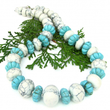 magnesite chunky southwest necklace with sterling silver