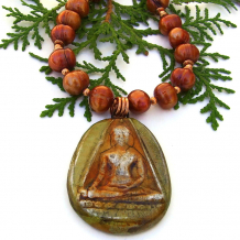 meditating buddha pendant necklace gift for her