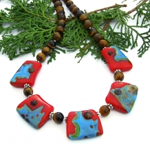 Turquoise and red necklace.