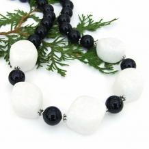 Classic white quartzite and black jade handmade gemstone necklace.