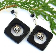 Black and silver earrings.