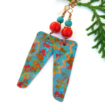 modern art earrings hand painted copper red coral turquoise