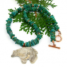 moon bear spirals bronze pendant necklace gift turquoise