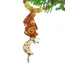 moon rabbit necklace for women