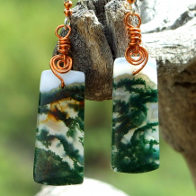 moss agate gemstones and copper spirals earrings jewelry gift