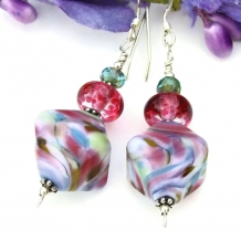 Multi colored lampwork earrings