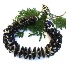 African batik bone bead boho necklace.