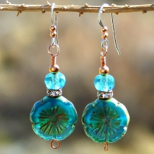 Unique aqua and teal pansy flowers earrings, perfect for spring and summer wear.