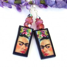 one of a kind frida kahlo earrings