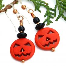 orange black jack o lantern pumpkin jewelry gift for her