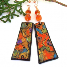 orange blue purple abstract art earrings lightweight